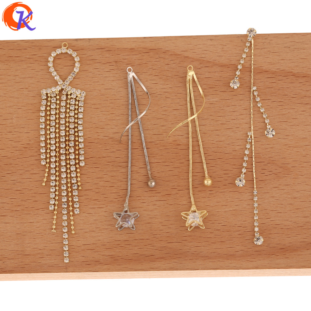 Cordial Design 50Pcs Jewelry Accessories/DIY Charms/Connectors For Earrings/Rhinestone Claw Chain/Hand Made/Earring Findings