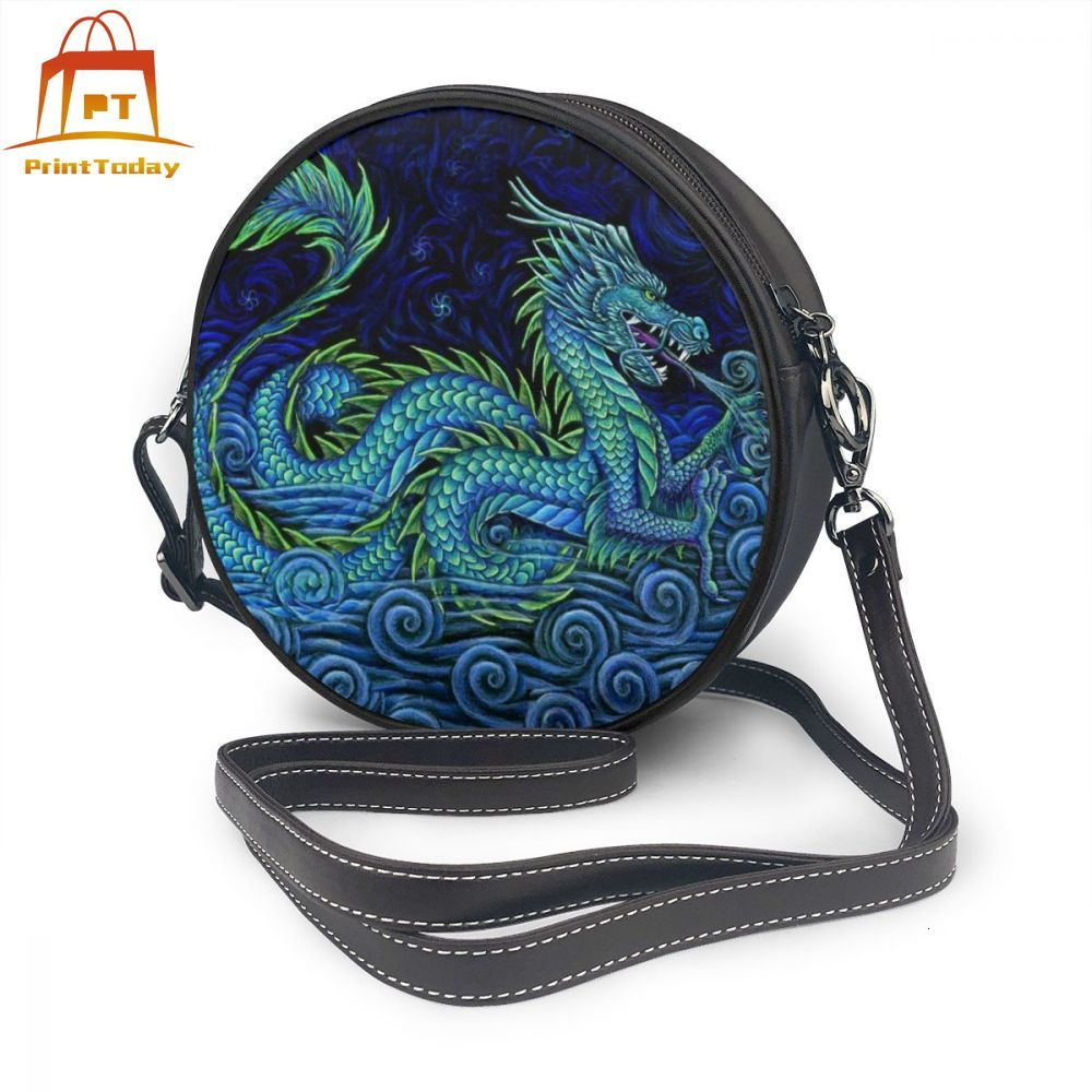 Dragon Shoulder Bag Dragon Leather Bag High Quality Pattern Women Bags Shopping Womens Teenage Round Purse
