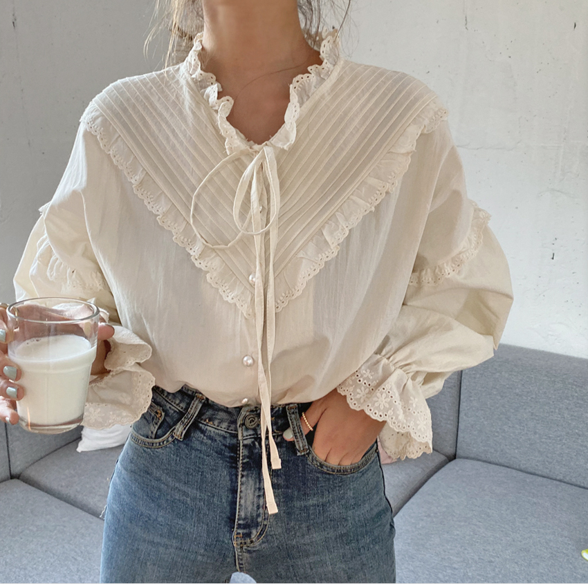 Ha4f7822dd2d84117982672654e29080dA - Spring / Autumn Korean V-Neck Long Sleeves Hollow Out Lace-Up Blouse