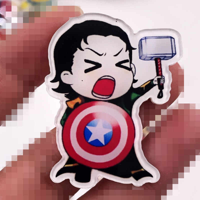 1 Pcs Marvel Akrilik Lencana Avengers Bros Pin Iron Man Captain America Hulk Thor Super Spiderman Man Black Panther Pria hadiah