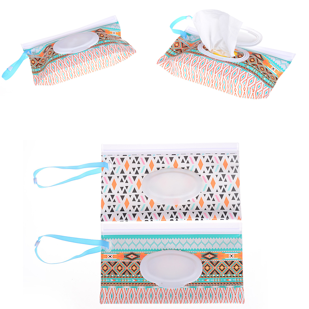 Clutch And Clean Wipes Carrying Case Wet Wipes Bag Clamshell Cosmetic Pouch Easy-carry Snap-strap Wipes Container