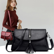 2020 New Fashion Mom Bag Middle-aged Lady Messenger Bag Simple Large Capacity Soft Leather Tassel Shoulder Bag kamicy 2018 new style lady messenger bag slanting bag single shoulder bag slanting span simple leather large capacity women bag
