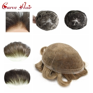 Полностью швейцарские кружевные волосы все шнурки мужские s Toupee человеческие волосы заменить мужской t светильник системы плотности волос ...