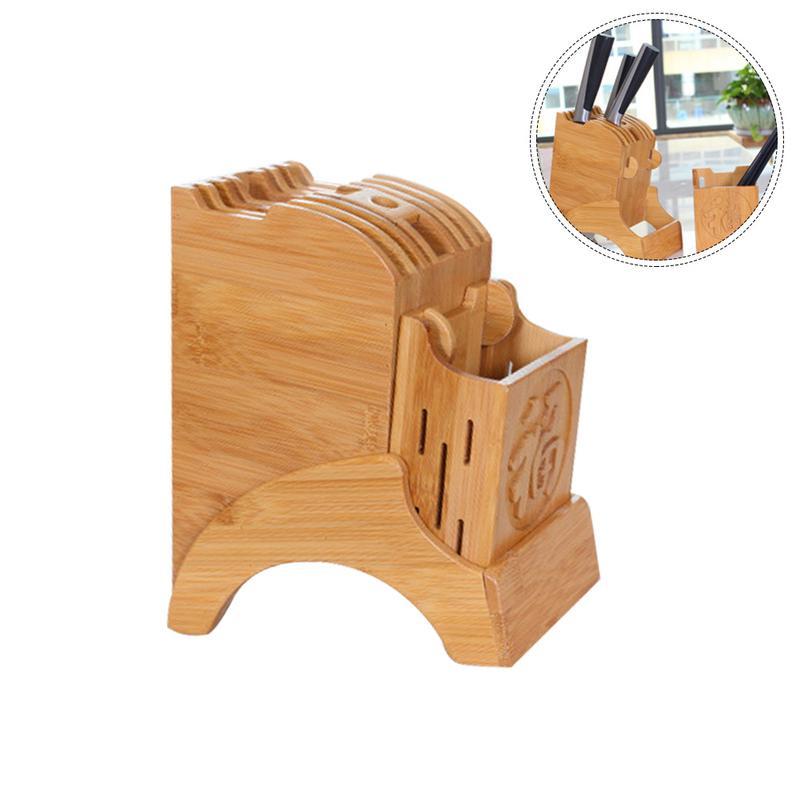 HLZS-Kitchen Bamboo Knife Holder Chopsticks Storage Shelf Storage Rack Tool Holder Bamboo Knife Block Stand Kitchen Accessories