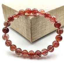 7mm Natural Red Hair Rutilated Quartz Crsytal Bracelet Women Men Cat Eye Stone Gift Round Beads Fashion Jewelry AAAAA