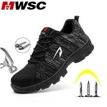 MWSC أحذية السلامة الصيف رجل أحذية السلامة تنفس العمل أحذية للرجال العمل شبكة الأحذية الصلب اصبع القدم كاب حماية أحذية ال