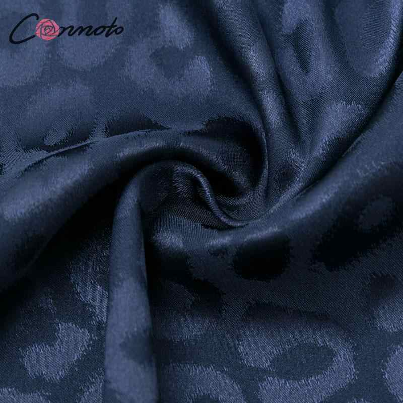 Conmoto feminino leopardo bordado deslizamento vestido sexy com decote em v curto vestido de festa feminino inverno 2019 midi manga plissada plus size vestido