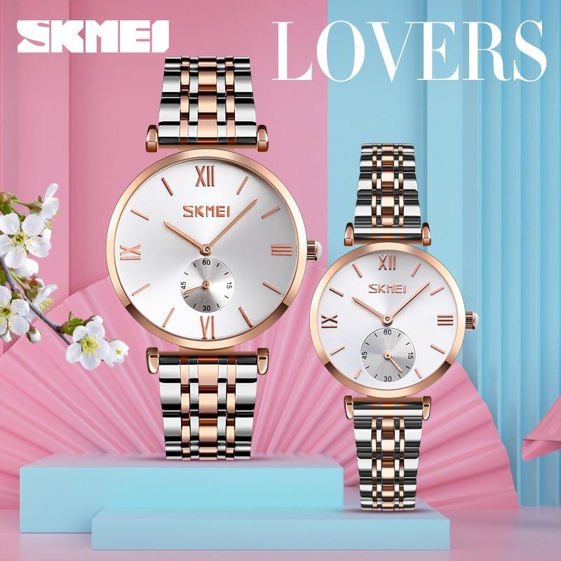 SKMEI TOP Luxury Couple Watch Golden Fashion Stainless Steel Lovers Watch Quartz Wrist Watches For Women & Men Analog Wristwatch