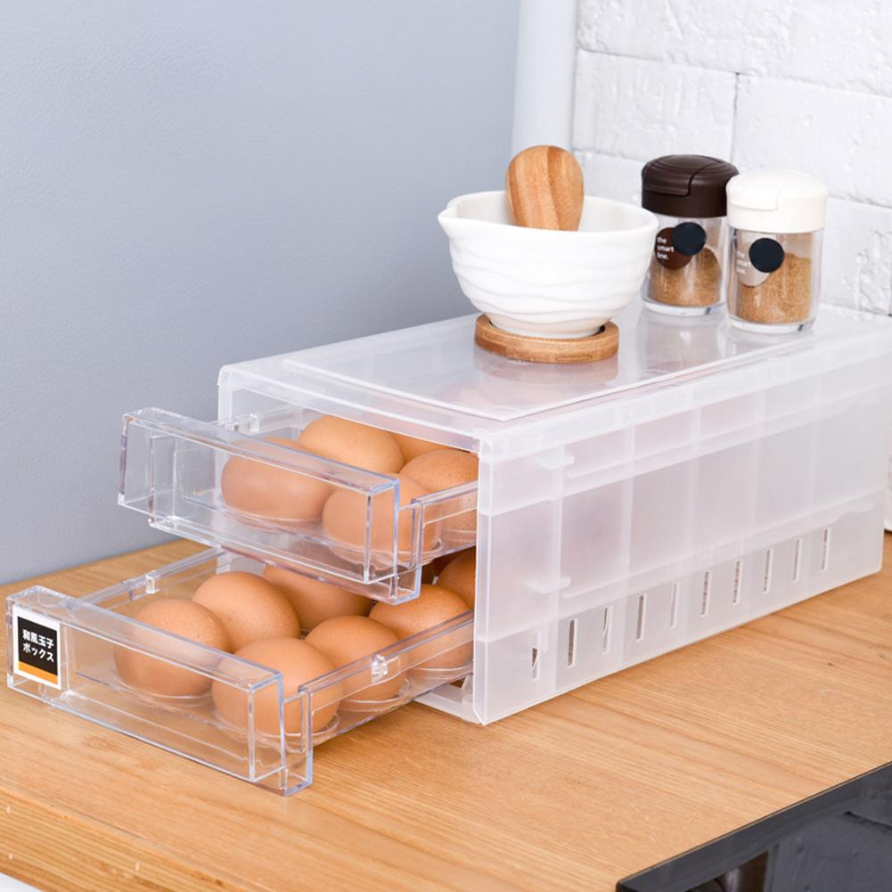 24 Grid Double-Layer Egg Tray Storage Box Drawer Kitchen Refrigerator Container