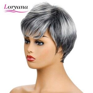 Loryana perruque synthétique courte grise Bob | Mélange de cheveux argentés et à raie latérale gauche pour femmes, style tendance, livraison gratuite