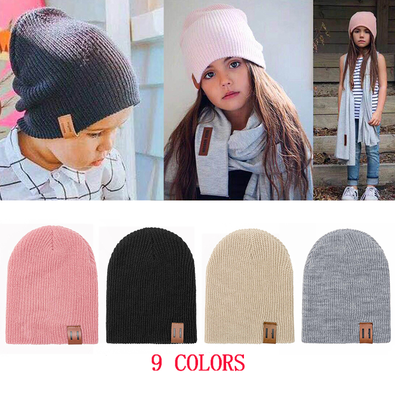 REAKIDS Baby Hat Kids Newborn Knitted Cap Crochet Solid Children Beanies Boys Girls Hats Headwear Toddler Kids Caps Accessories
