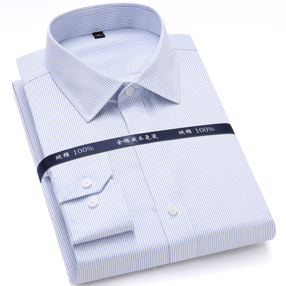 High Quality Mens Formal Dress Shirts Long Sleeve White Pure Cotton Business Slim Fit Plus Size Office Shirt Non Iron Blouse 3