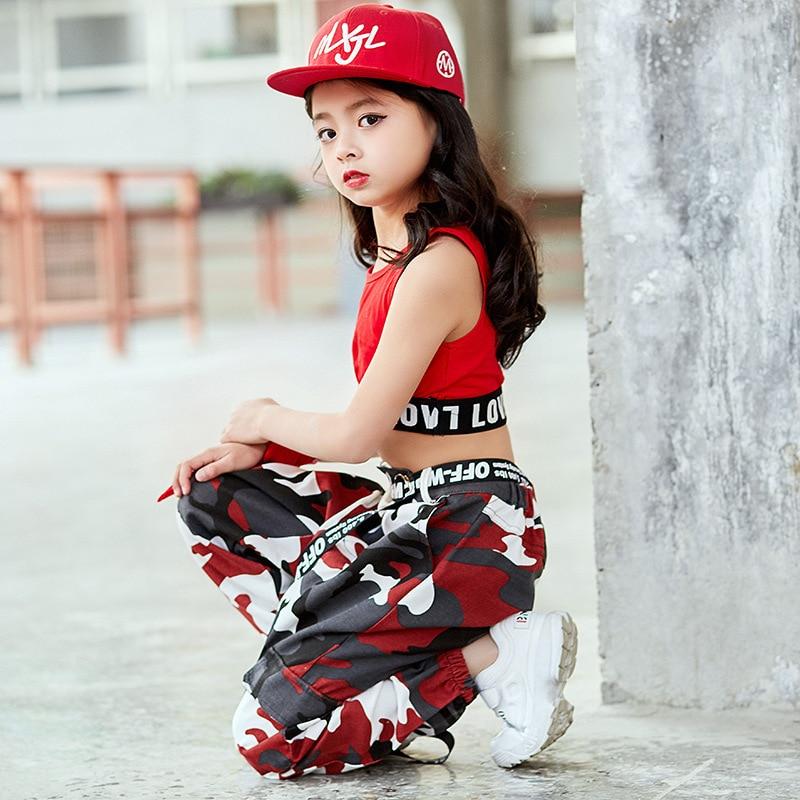 Girls Jazz Costumes Children Hip Hop Set Autumn Women's Jazz Navel Loose-Fit Korean-style GIRL'S Camouflage Pants
