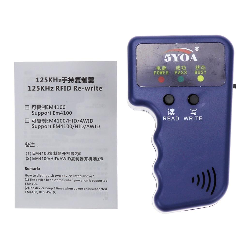 Ha4f8c0b2430844818d9c7bff0e3223dbE 125KHz EM4100 RFID Copier Writer Duplicator Programmer Reader + T5577 EM4305 Rewritable ID Keyfobs Tags Card 5200 Handheld