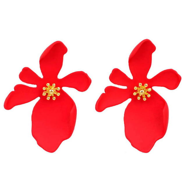 Earrings For Women Studs Girls Flowers Petal Colorful Elegance Trendy Party Jewelry Charm