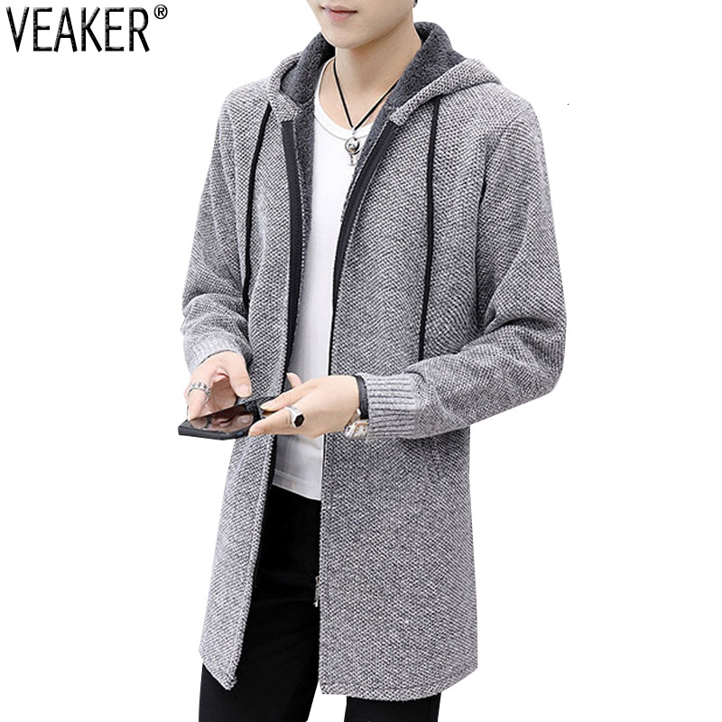 2019 New Men's Autumn Winter Long Sweatercoat Zipper Sweater Cardigans Male Long Sleeve Hooded Sweater Outerwear Knitwear M-3XL
