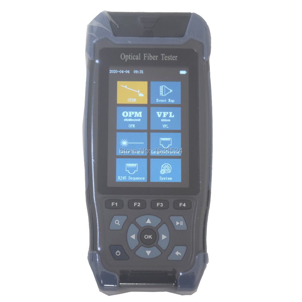 Pro Mini OTDR Fiber Optic Reflectometer 1310 1550nm With VFL OLS OPM Event Map 24dB For 64km Fiber Cable