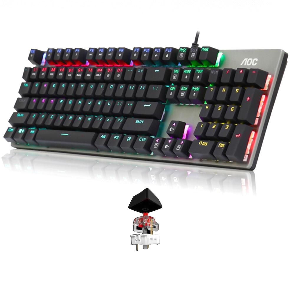 104 tasti RGB retroilluminazione gioco meccanico metallo accessori universali per Computer ergonomico Home Office tastiera cablata per Desktop