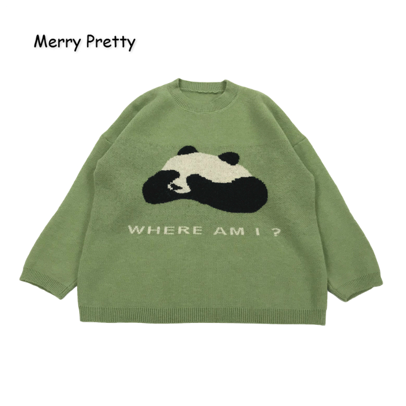 MERRY PRETTY Women's' Cartoon Panda Embroidery Knitted Sweaters 2019 Winter Warm Long Sleeve Jacquard Sweater Knit Pullovers