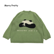 MERRY PRETTY Women's' Cartoon Panda Embroidery Knitted Sweaters 2020 Winter Warm Long Sleeve Jacquard Sweater Knit Pullovers