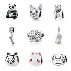 Original 925 Sterling Silver Charm Bead Love Pets Dog Cat Paw Print Panda Pendant Charms Fit Pandora Bracelets Women DIY Jewelry