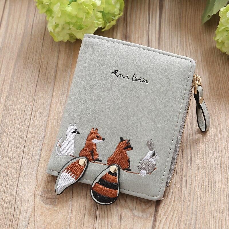 Индивидуальный мини-кошелек из искусственной кожи на застежке-молнии, держатель для карт, Женский кошелек с милым рисунком и вышивкой, популярный кошелек - Цвет: Gray