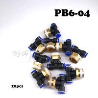 20PCS/LOT PB6 04 air hose fittings Pneumatic Fittings tube 6mm thread 1/2\ Wholesale
