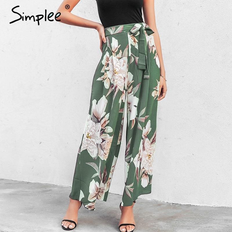 Simplee Sash Floral Print Wide Leg Pants Women Elastic Loose Boho Casual Pants Trousers Beach Summer High Waist Pants Female