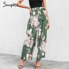 Simplee Sash floral print wide leg pants women Elastic loose