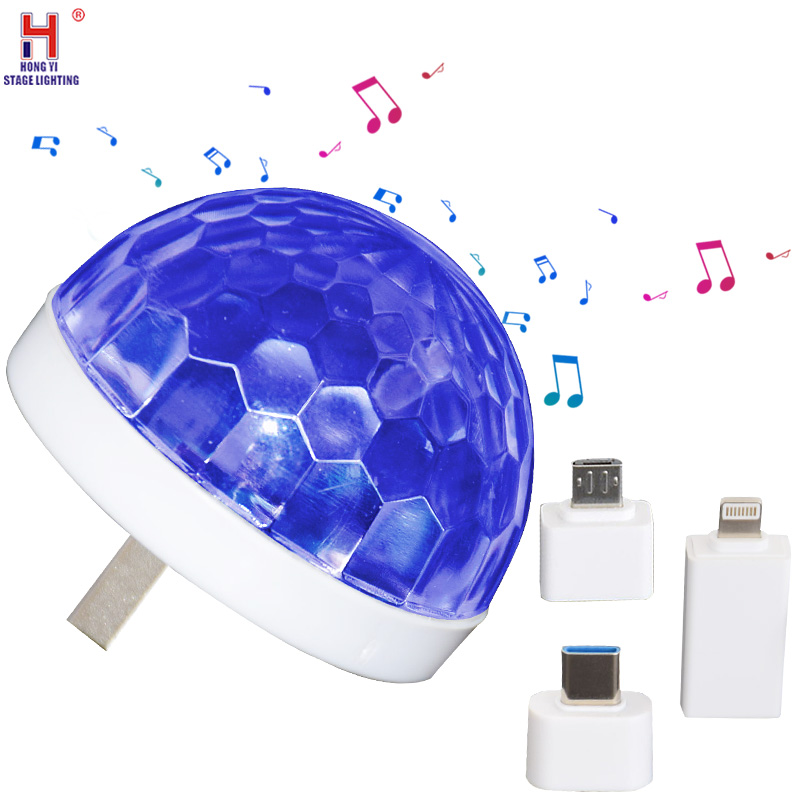 Mini USB Disco Light Portable Family Party Light Crystal Magic Ball Colorful Effect Light Bar Club Stage Lamp For Mobile Phones