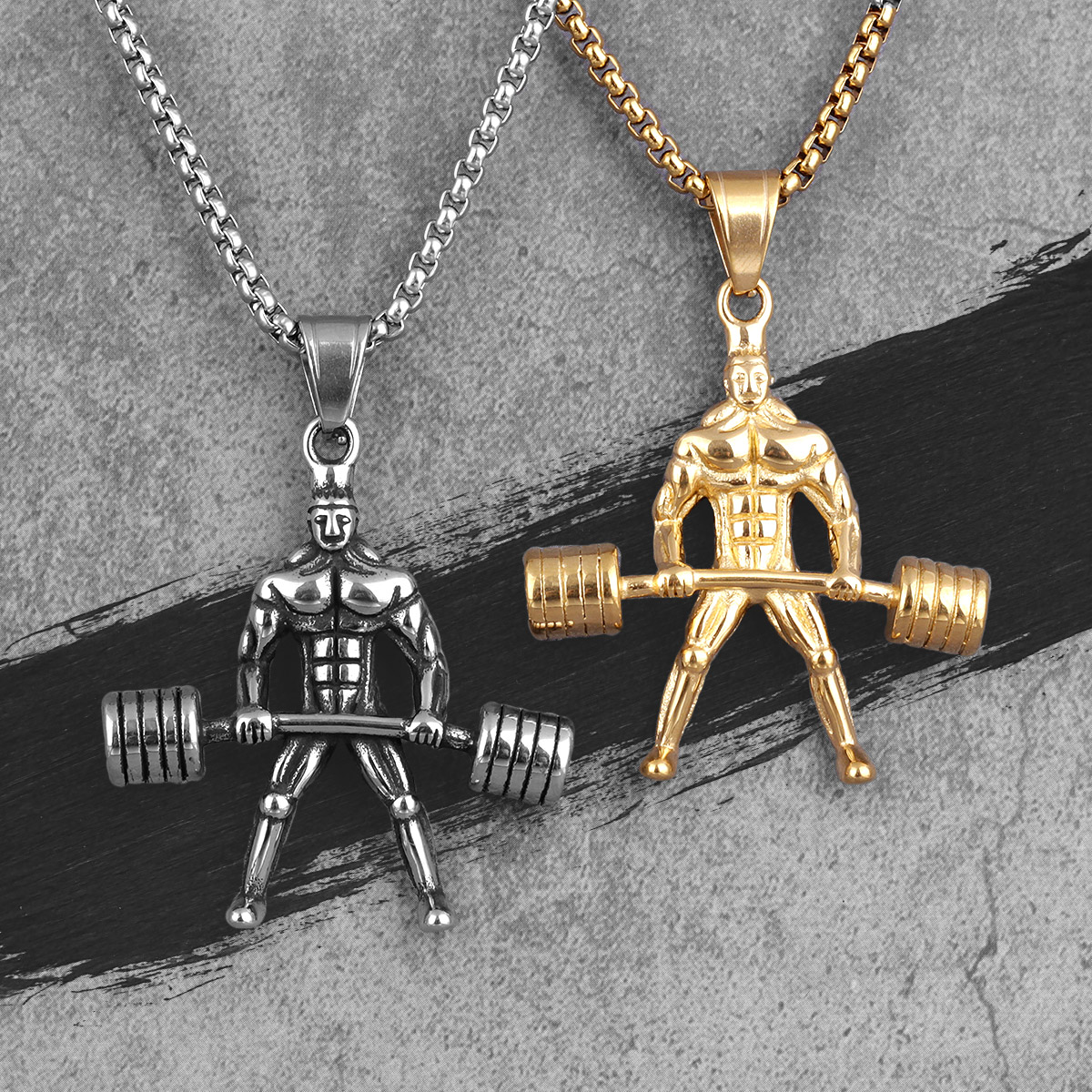Weightlifting Fitness Bodybuilding Men Necklaces Pendants Chain for Boy Male Stainless Steel Jewelry Creativity Gift Wholesale