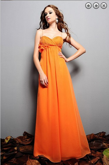 Free Shipping New Fashion 2016 Dinner Dress Plus Size Brides Maid Dresses Vestidos Formales Long Orange Chiffon Evening Gowns