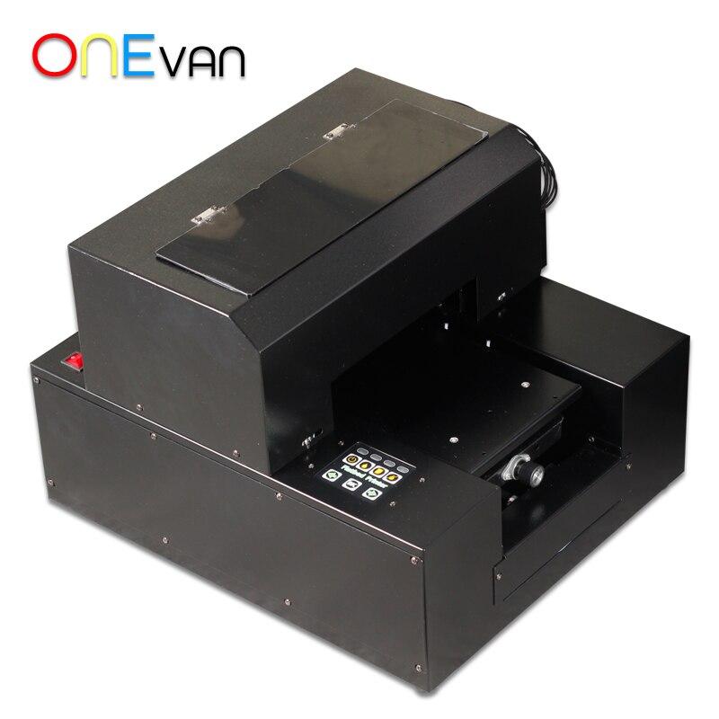 Petite imprimante UV automatique A4 taille imprimante à plat UV avec 2500 ml d'encre UV pour bouteille, coque de téléphone, briquet, TPU, PVC, métal, bois