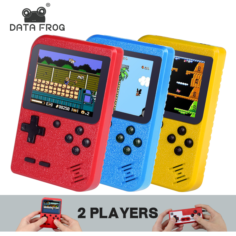 DATA FROG 8 bit Handheld Game Console Mini Handheld Player Built-in 400 Games 3.0 Inch Retro Video Game Console+Gamepad 2 Player
