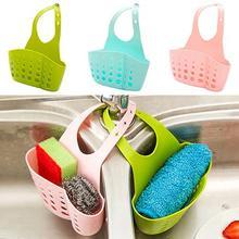 Hanging Basket Bathroom Round Accessory Sink Sponge Holder 2 Bags Holes Tap Storage Rack Adjustable Strainer Organizer