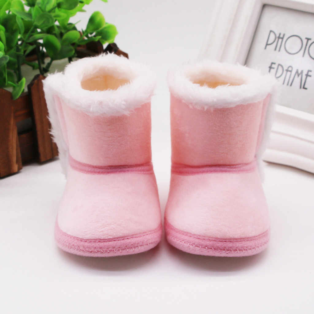 Baby Boot Shoes Infant Newborn Winter Baby Girls Winter Wram Cashmere Plush Winter Boots Bandage Warm Shoes Botas para ninos