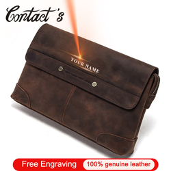 Contacto grabado gratis de hombres de cuero de Caballo Loco cartera Vintage bolso de embrague, regalo de hombre de Walets monederos con tarjetero