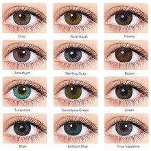 Vivideye 2 pcs/par lentes de contato coloridas halloween para olhos contatos coloridos não prescrição com vermelho azul cinza cor cosméticos