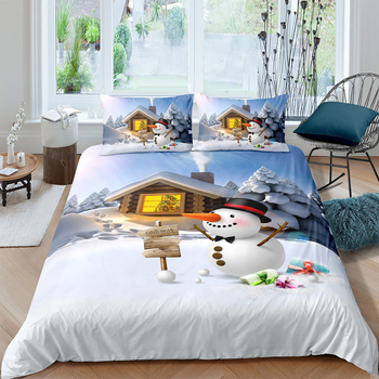 Single Size Bedding Set For Children Cute 3D Duvet Cover Snowman And Scarecrow King Queen Twin Full Double Unique Design Bed Set