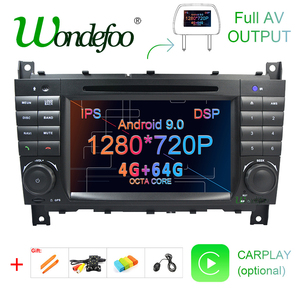 Android 9.0 4G 64G 2 DIN Car DVD GPS For Mercedes/Benz W203 W209 W219 W169 A160 C180 C200 C230 C240 CLK200 CLK22 radio stereo(China)