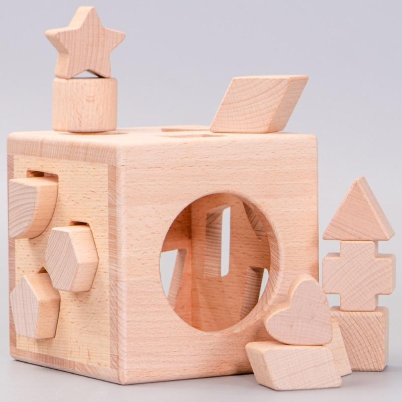Kids Wooden Shape Sorter Cube Unpainted Building Block Box Educational Toys Baby 77HD