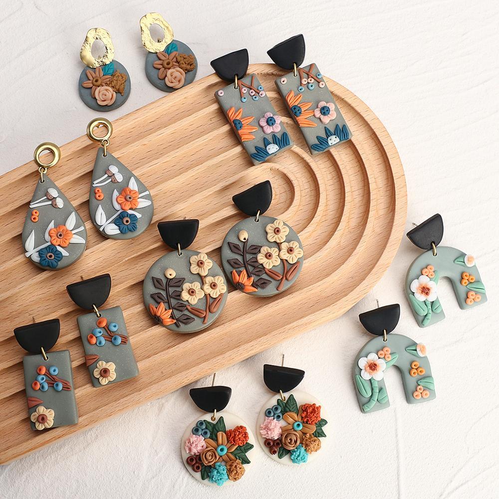 AENSOA New Unique Design Flower Polymer Clay Earrings for Women 2020 Statement Geometric Clay Drop Earrings Fashion Jewelry