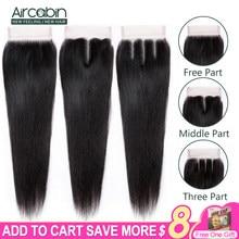 Cabelo brasileiro liso 4x4 de fecho, cabelo remy livre/médio/3 partes cabelo humano com fecho cor natural de 8