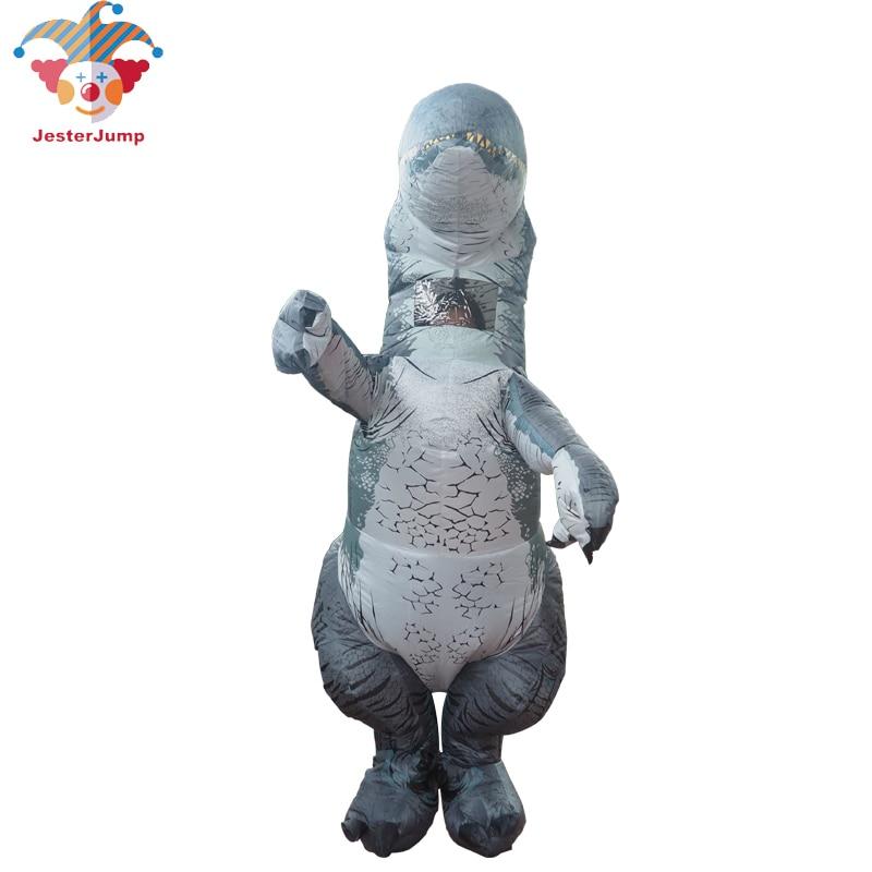 Cospaly Jurassic World Adult Velociraptor Costume Fantasy Halloween Inflatable T REX Raptor Dinosaur Party Costume for Women Men