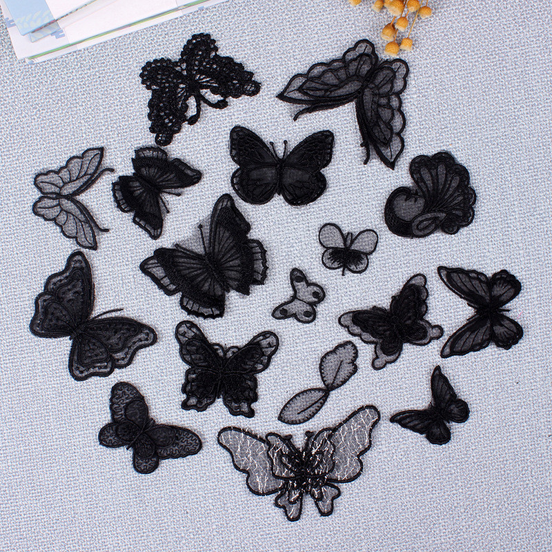 Black Pink Lace Embroidery Sew on Patches for Clohting Flower Butterfly Appliques Stripes <font><b>Sexy</b></font> Dress Stickers image