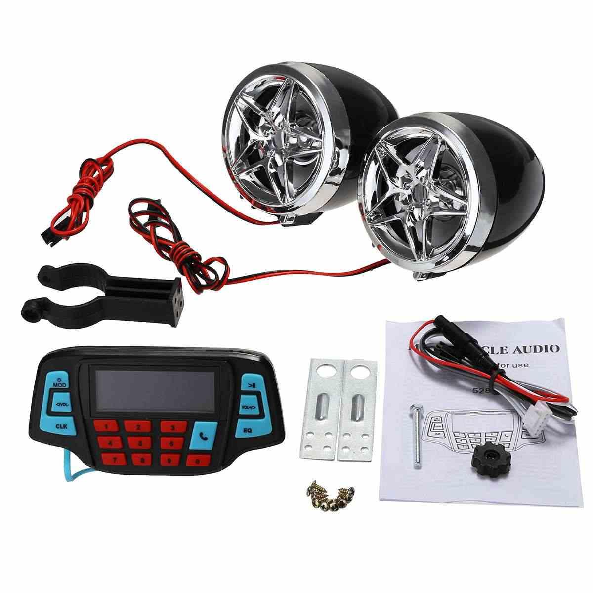 Sepeda Motor Studio Audio Sound Sistem Stereo Speaker FM Radio MP3 Pemutar Musik ATV Skuter Remote Control Alarm Speaker Skuter