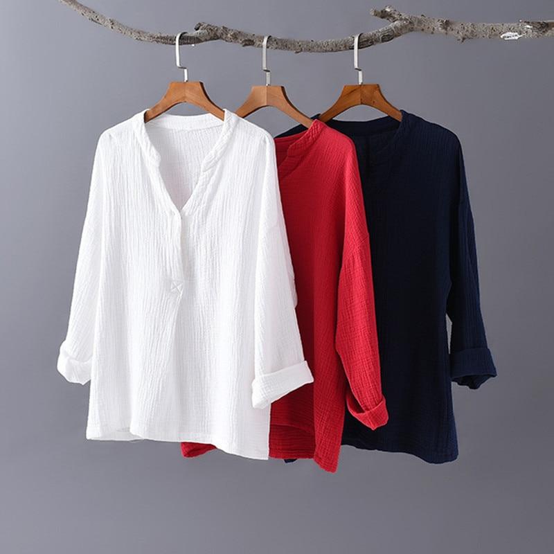 2020 Spring white cotton linen tops blouses korean long sleeve black shirts oversized tops plus size vintage tops 6XL 7XL 8XL