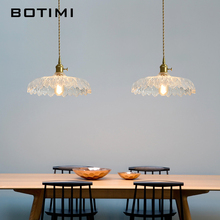 BOTIMI 2019 ART DECO LED Pendant Lights with Glass Lampshade For Dining Room Wooden Meatl Cord Hanging Lamp Bar Lighting Fixture free shipping ac90 260v avintage cord pendant lights clear glass lampshade edison bulb pendant lamp for dining room ktv bar
