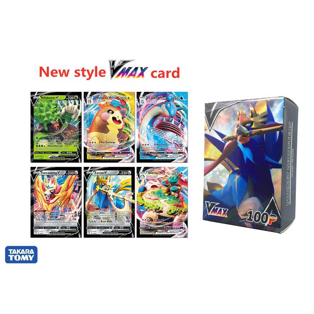 100pcs/Box New Pokemon Card Sword & Shield Vmax TAG TEAM Shining Cards Collection Trading Card Game Kids Toys