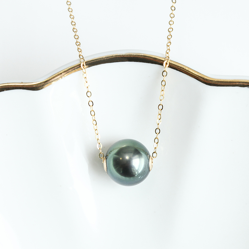 Simple Classic Design Tahitian Sea Water Single Black Pearl Pendant Necklace Fashion Necklaces for Women Gold Necklace Women - 4
